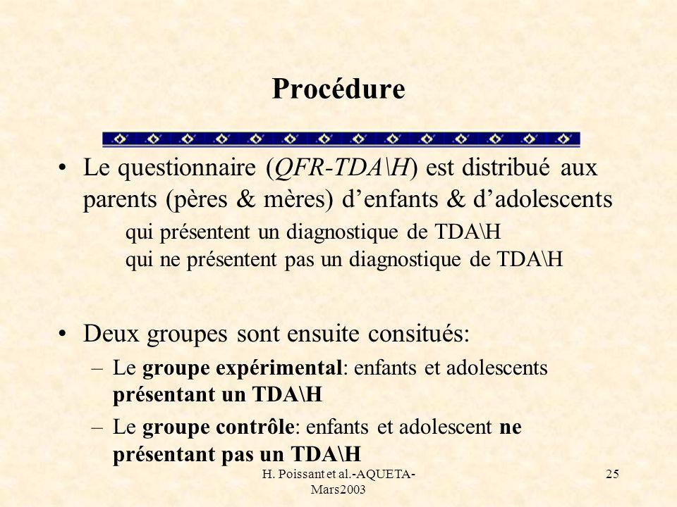 H. Poissant et al.-AQUETA- Mars2003 25 Procédure Le questionnaire (QFR-TDA\H) est distribué aux parents (pères & mères) denfants & dadolescents qui pr