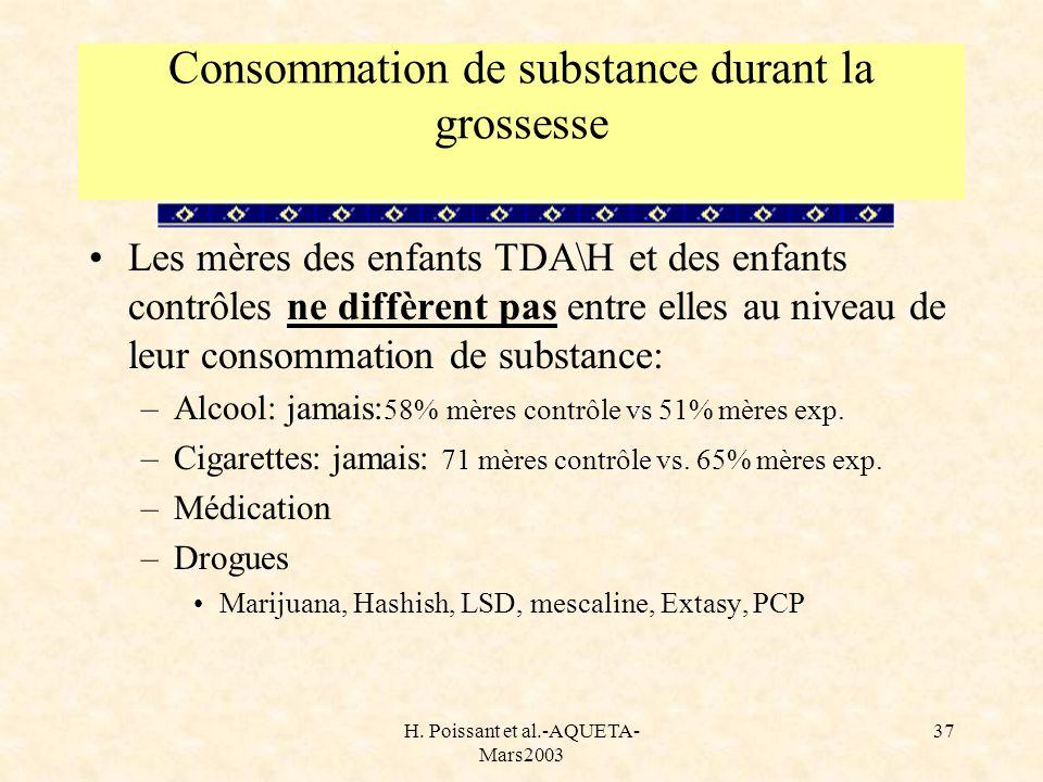 H. Poissant et al.-AQUETA- Mars2003 37 Consommation de substance durant la grossesse Les mères des enfants TDA\H et des enfants contrôles ne diffèrent