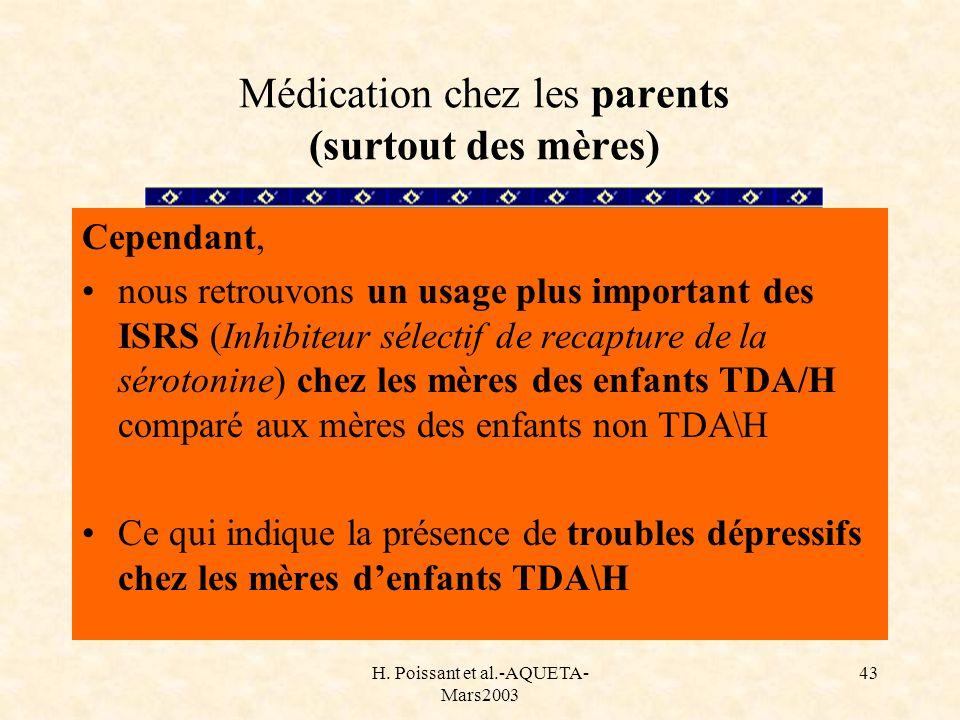 H. Poissant et al.-AQUETA- Mars2003 43 Médication chez les parents (surtout des mères) Cependant, nous retrouvons un usage plus important des ISRS (In