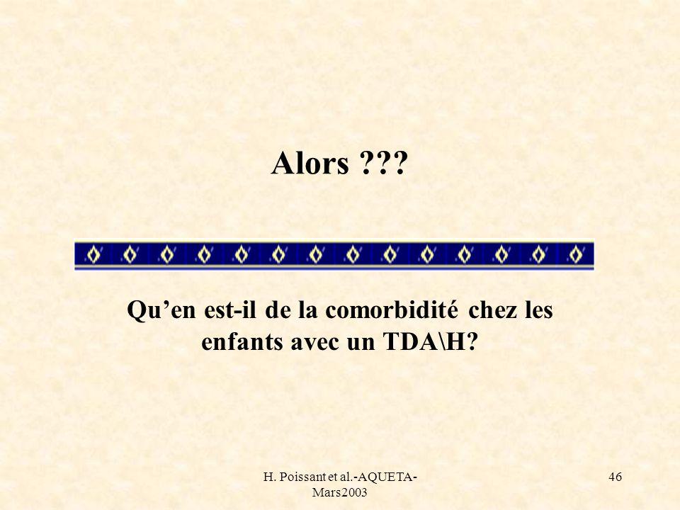 H. Poissant et al.-AQUETA- Mars2003 46 Alors ??? Quen est-il de la comorbidité chez les enfants avec un TDA\H?