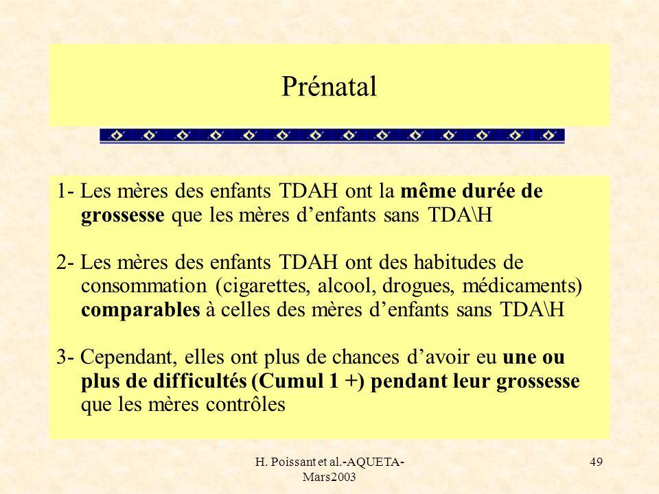 H. Poissant et al.-AQUETA- Mars2003 49 1- Les mères des enfants TDAH ont la même durée de grossesse que les mères denfants sans TDA\H 2- Les mères des