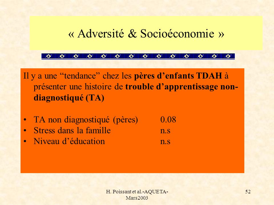 H. Poissant et al.-AQUETA- Mars2003 52 Il y a une tendance chez les pères denfants TDAH à présenter une histoire de trouble dapprentissage non- diagno