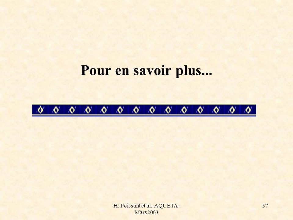 H. Poissant et al.-AQUETA- Mars2003 57 Pour en savoir plus...