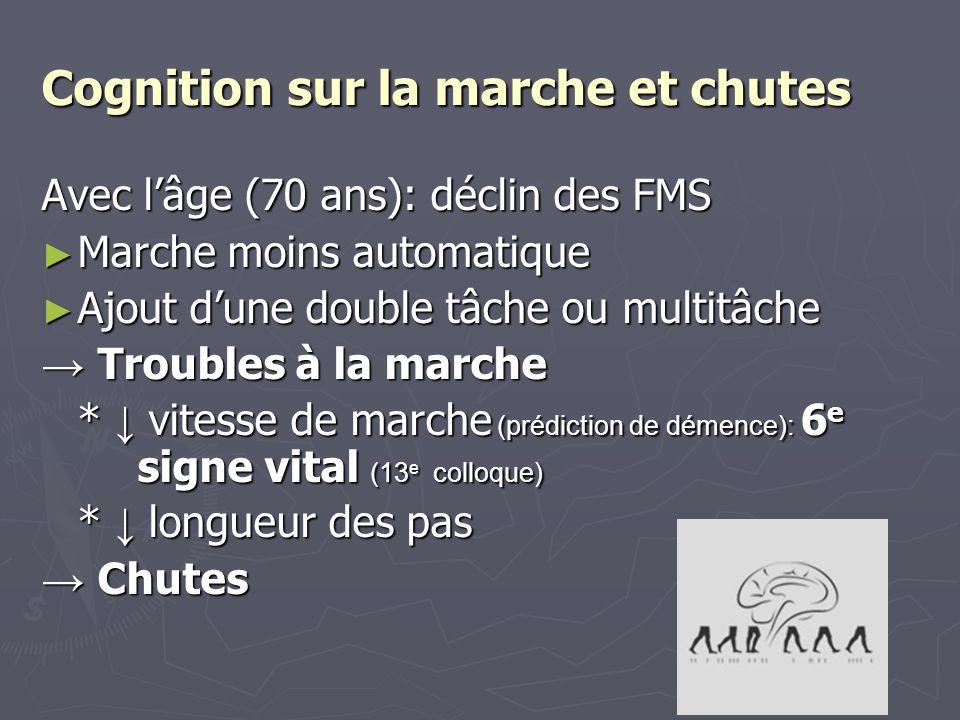 Cognition sur la marche et chutes Avec lâge (70 ans): déclin des FMS Marche moins automatique Marche moins automatique Ajout dune double tâche ou mult