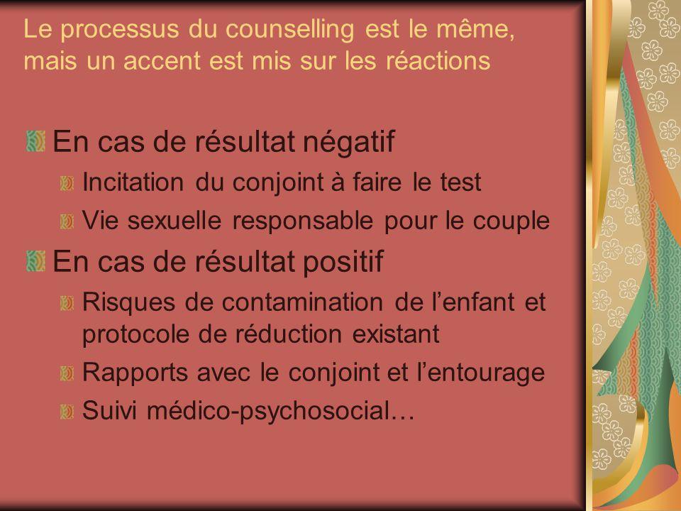 Le processus du counselling est le même, mais un accent est mis sur les réactions En cas de résultat négatif Incitation du conjoint à faire le test Vi