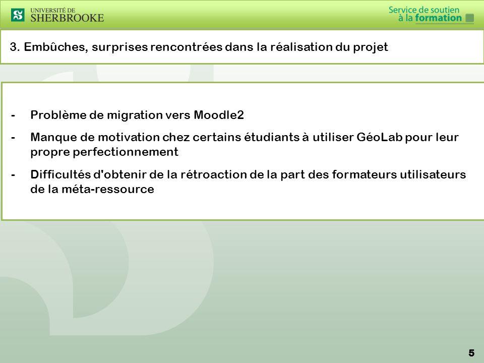 5 3. Embûches, surprises rencontrées dans la réalisation du projet -Problème de migration vers Moodle2 -Manque de motivation chez certains étudiants à