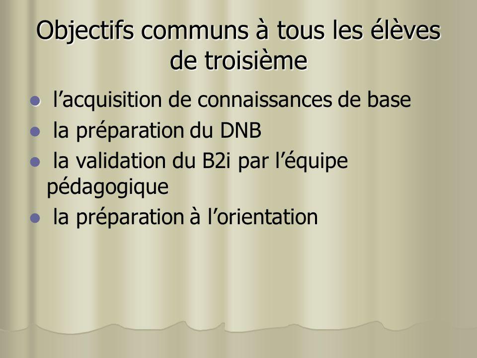 lacquisition de connaissances de base la préparation du DNB la validation du B2i par léquipe pédagogique la préparation à lorientation Objectifs commu
