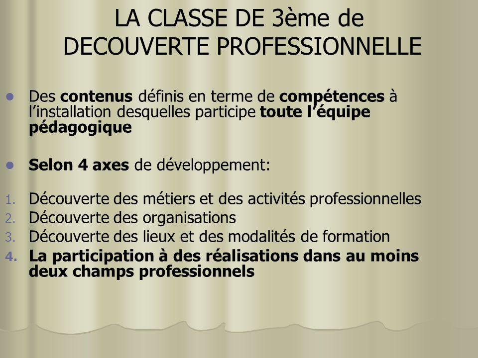 Des contenus définis en terme de compétences à linstallation desquelles participe toute léquipe pédagogique Selon 4 axes de développement: 1. Découver