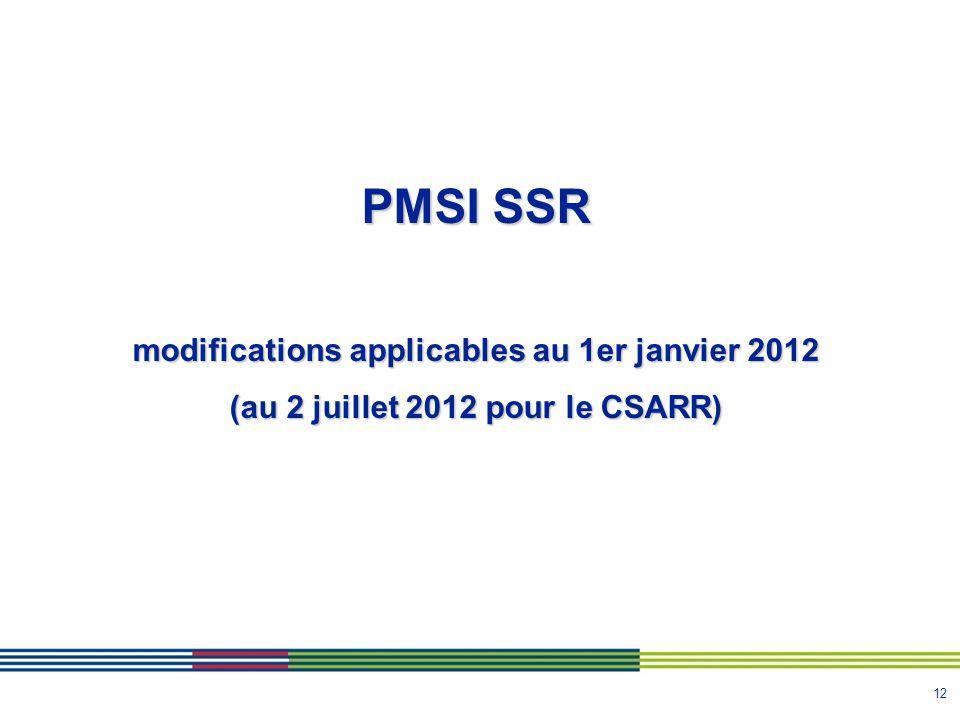 12 PMSI SSR modifications applicables au 1er janvier 2012 (au 2 juillet 2012 pour le CSARR)