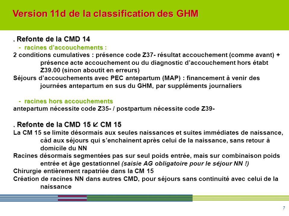 7. Refonte de la CMD 14 racines daccouchements - racines daccouchements : 2 conditions cumulatives : présence code Z37- résultat accouchement (comme a