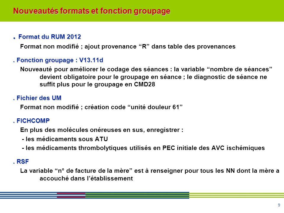 9. Format du RUM 2012 Format non modifié ; ajout provenance R dans table des provenances. Fonction groupage : V13.11d Nouveauté pour améliorer le coda