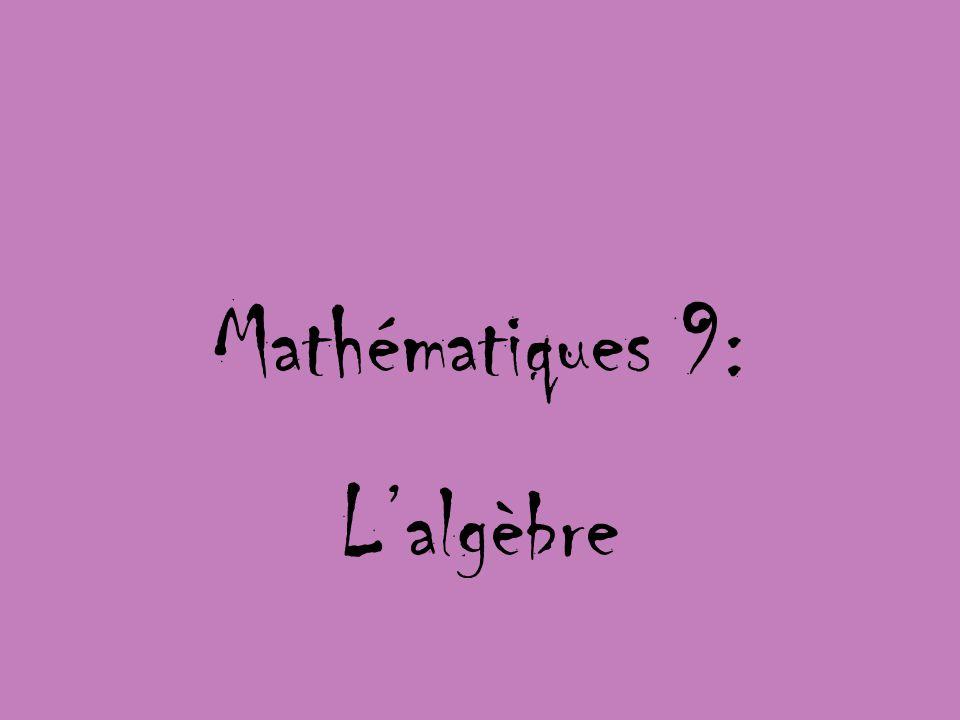 Mathématiques 9: Lalgèbre