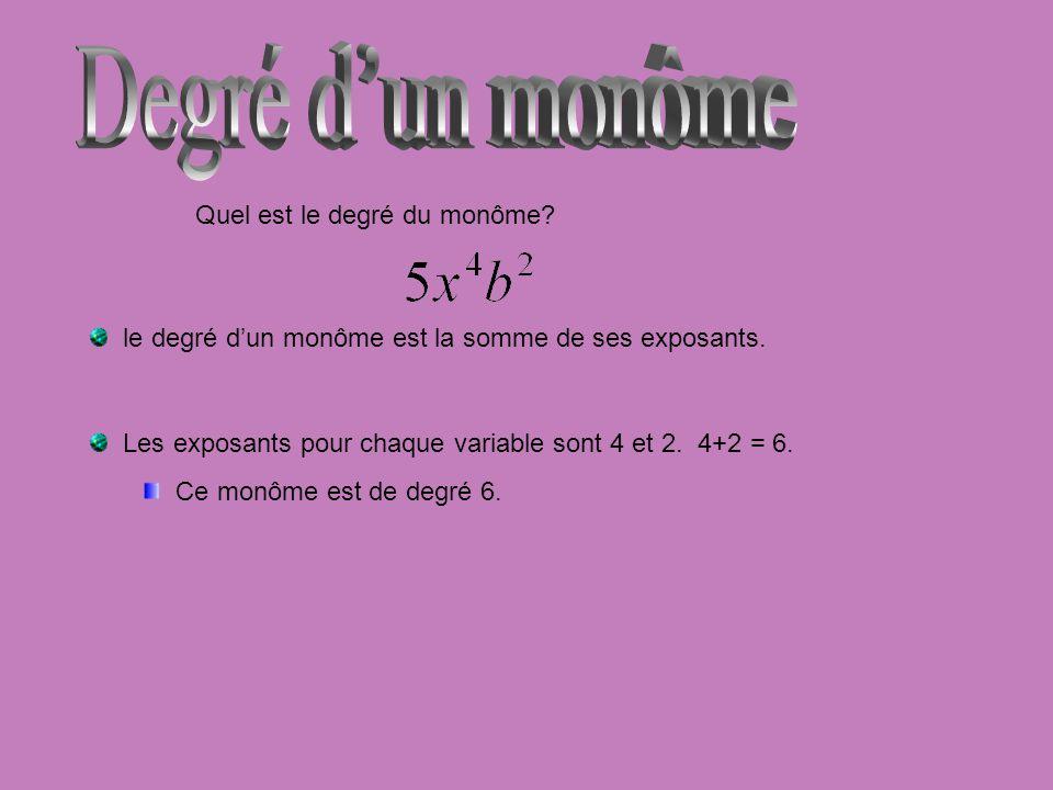 Quel est le degré du monôme? le degré dun monôme est la somme de ses exposants. Les exposants pour chaque variable sont 4 et 2. 4+2 = 6. Ce monôme est
