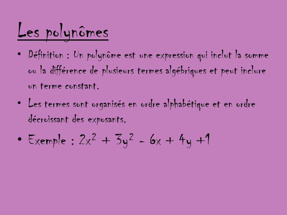 Les polynômes Définition : Un polynôme est une expression qui inclut la somme ou la différence de plusieurs termes algébriques et peut inclure un term