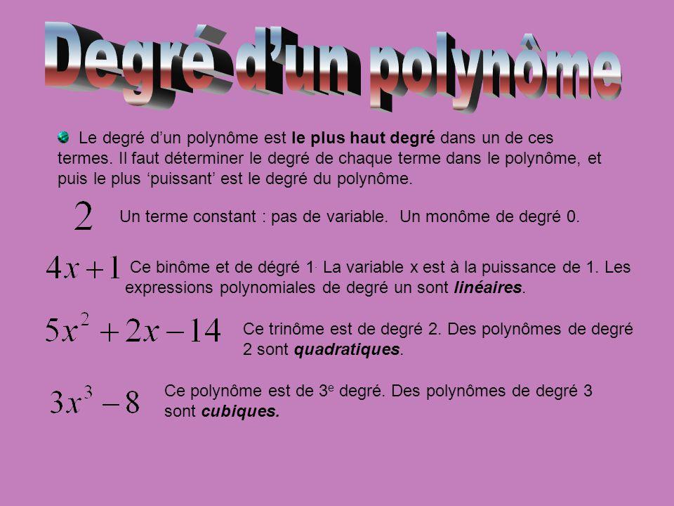 Le degré dun polynôme est le plus haut degré dans un de ces termes. Il faut déterminer le degré de chaque terme dans le polynôme, et puis le plus puis