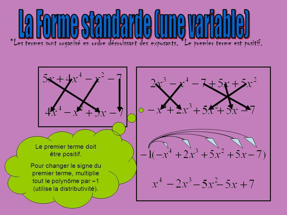 Le premier terme doit être positif. Pour changer le signe du premier terme, multiplie tout le polynôme par –1 (utilise la distributivité). *Les termes