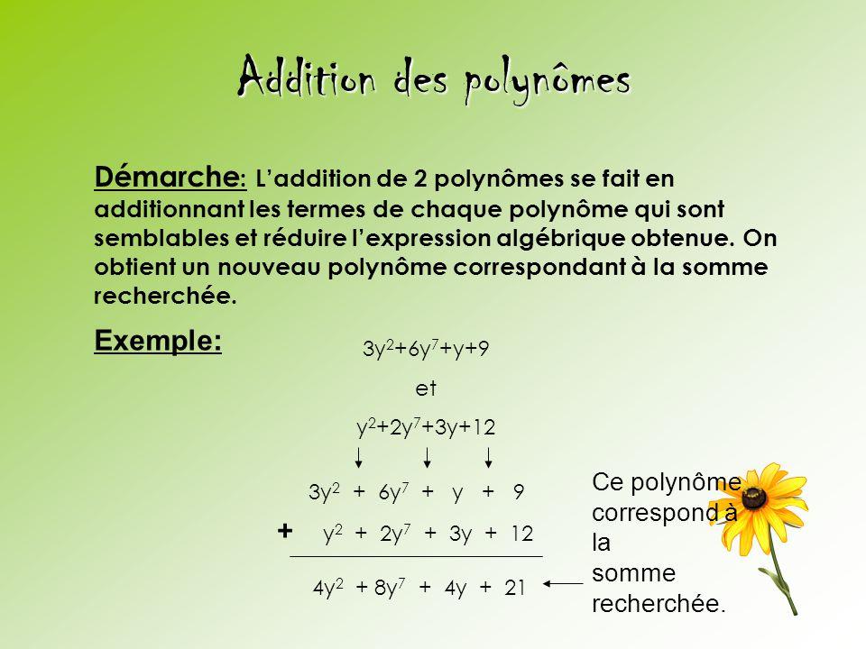Addition des polynômes 3y 2 +6y 7 +y+9 et y 2 +2y 7 +3y+12 Démarche : Laddition de 2 polynômes se fait en additionnant les termes de chaque polynôme q