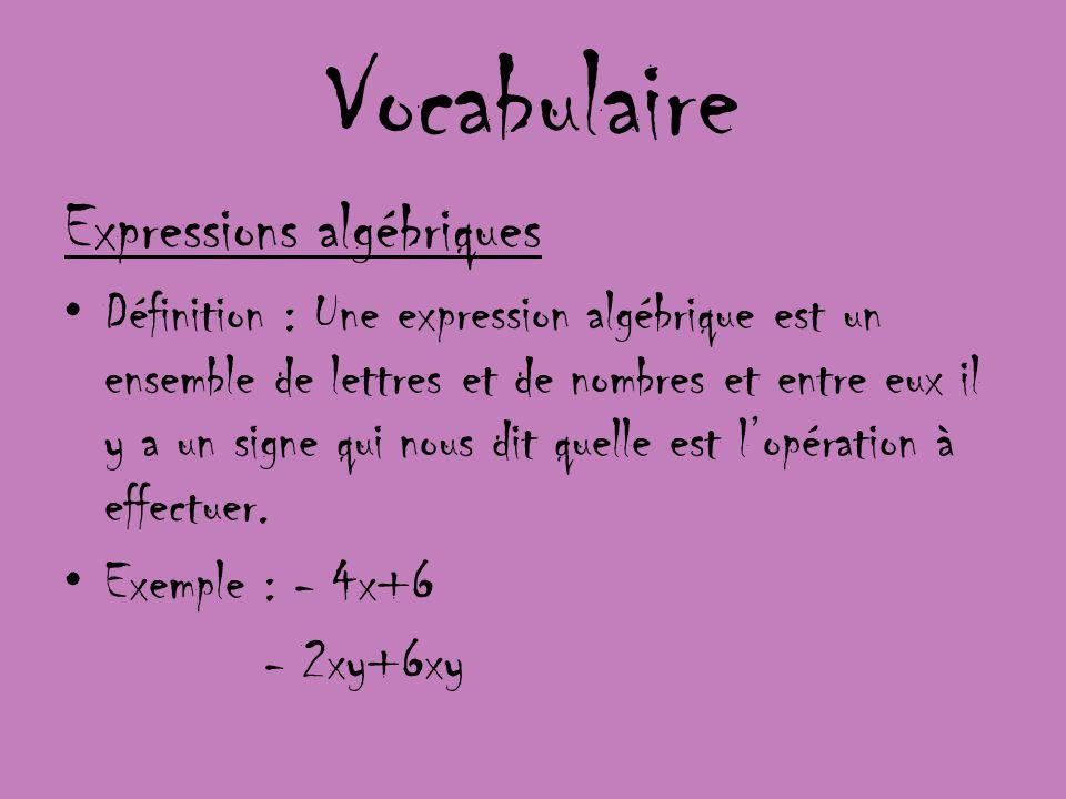 Vocabulaire Expressions algébriques Définition : Une expression algébrique est un ensemble de lettres et de nombres et entre eux il y a un signe qui n