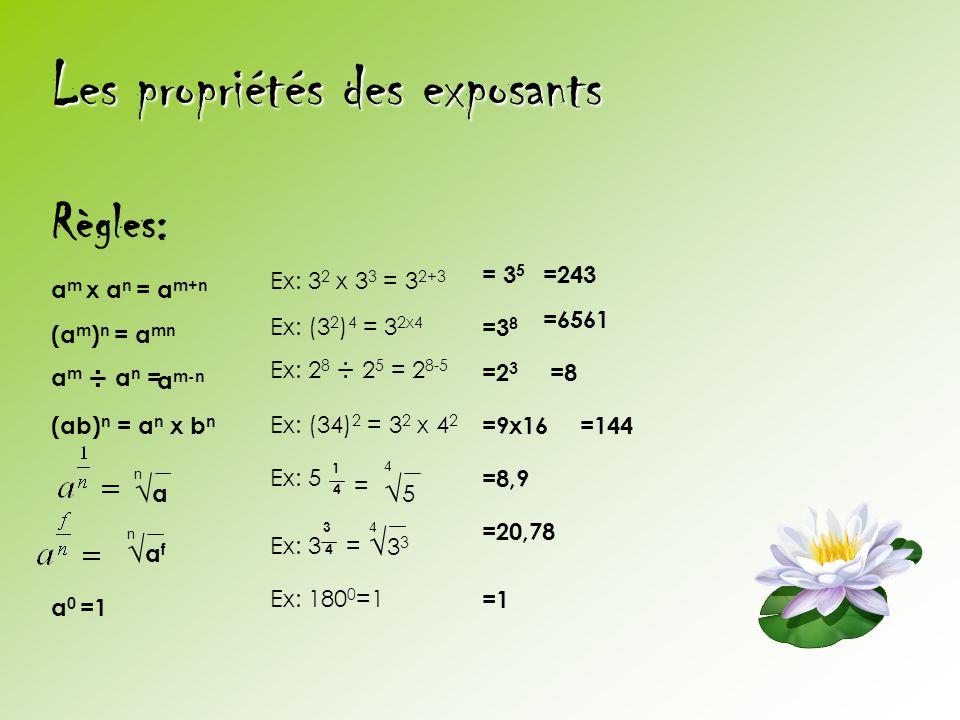 Les propriétés des exposants Règles: a m x a n = a m+n (a m ) n = a mn a m ÷ a n =a m-n (ab) n = a n x b n n a a f n Ex: 3 2 x 3 3 = 3 2+3 Ex: (3 2 )