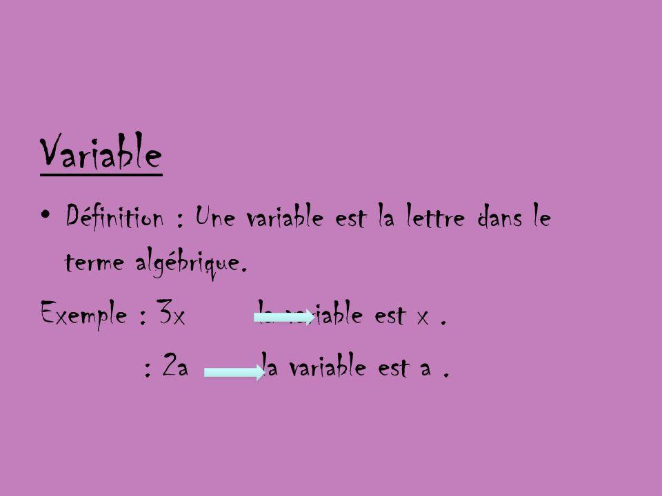 Variable Définition : Une variable est la lettre dans le terme algébrique. Exemple : 3x la variable est x. : 2a la variable est a.