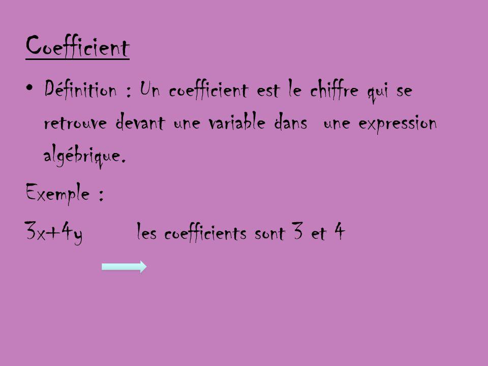Coefficient Définition : Un coefficient est le chiffre qui se retrouve devant une variable dans une expression algébrique. Exemple : 3x+4y les coeffic