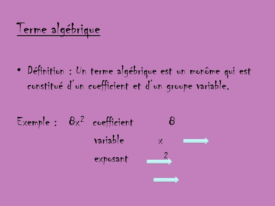 Terme algébrique Définition : Un terme algébrique est un monôme qui est constitué dun coefficient et dun groupe variable. Exemple : 8x² coefficient 8