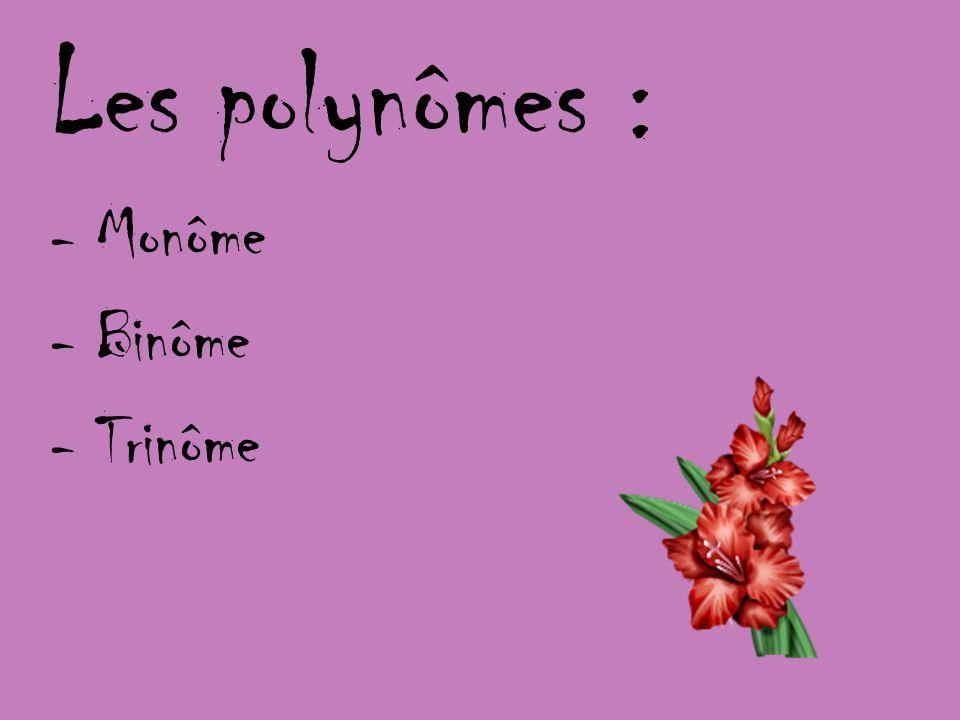 Soustraction des polynômes Démarche: La soustraction des polynômes équivaut à additionner lopposé de chacun des termes deuxième polynôme au premier et à réduire lexpression algébrique obtenue.