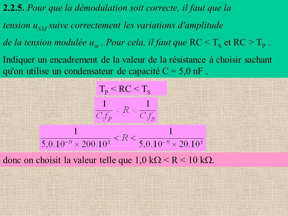 2.2.5. Pour que la démodulation soit correcte, il faut que la tension u SM suive correctement les variations d'amplitude de la tension modulée u m. Po