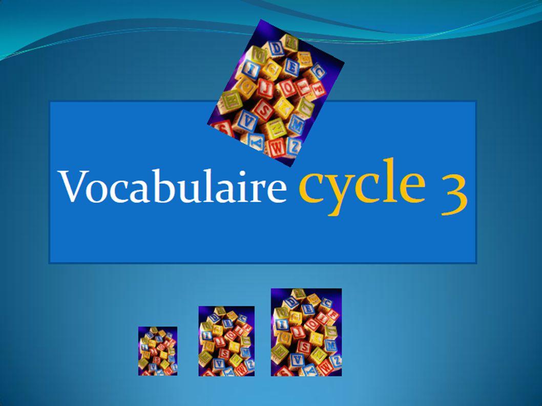 LE LEXIQUE AU CYCLE 3 DOMAINE RETENU: COMPETENCES LINGUISTIQUES ELEMENTS LIES AU LEXIQUE ITEMS RETENUS: D1.Augmenter le capital lexical des élèves.