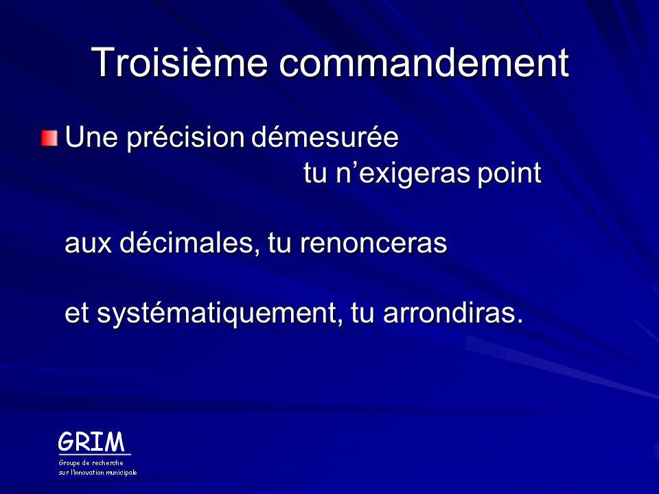 Troisième commandement Une précision démesurée tu nexigeras point aux décimales, tu renonceras et systématiquement, tu arrondiras.