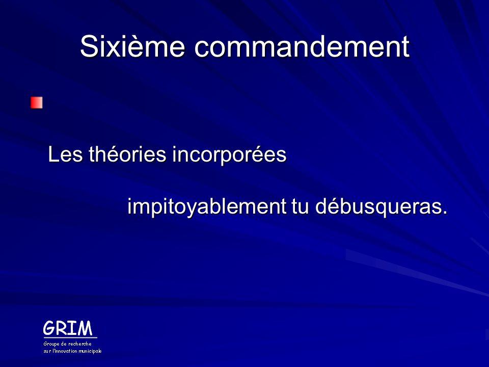 Sixième commandement Les théories incorporées impitoyablement tu débusqueras.