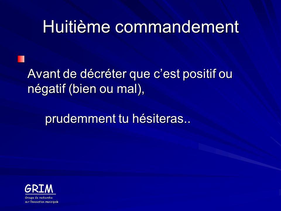 Huitième commandement Avant de décréter que cest positif ou négatif (bien ou mal), prudemment tu hésiteras..