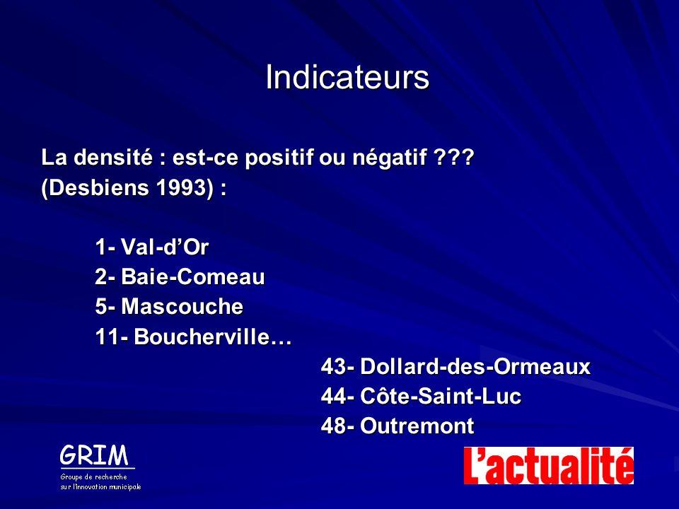 Indicateurs La densité : est-ce positif ou négatif ??? (Desbiens 1993) : 1- Val-dOr 2- Baie-Comeau 5- Mascouche 11- Boucherville… 43- Dollard-des-Orme