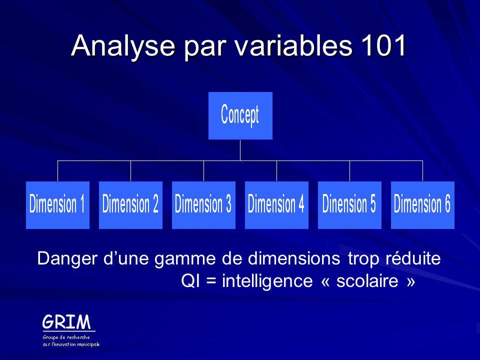 Analyse par variables 101 Nécessité de faire reposer lévaluation sur de nombreux indicateurs