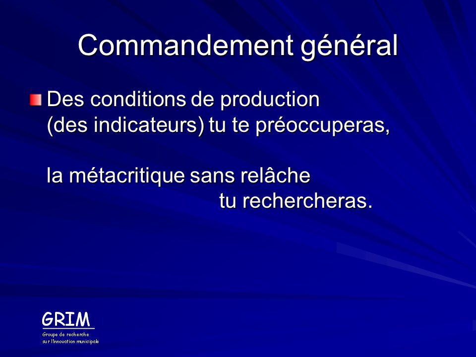 Cinquième commandement De lintérêt de ceux qui défrayent et des intérêts de ceux qui fabriquent les indicateurs, tu te soucieras, sinon du chanstiquage tu pâtiras.
