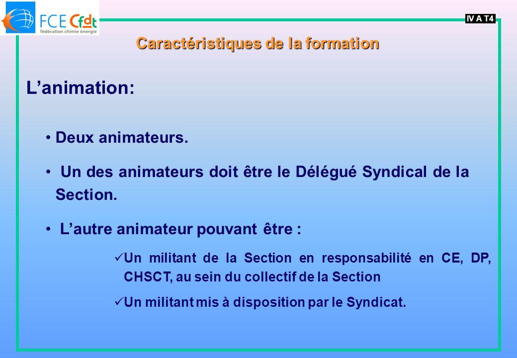 IV A T4 Caractéristiques de la formation Lanimation: Deux animateurs. Un des animateurs doit être le Délégué Syndical de la Section. Lautre animateur