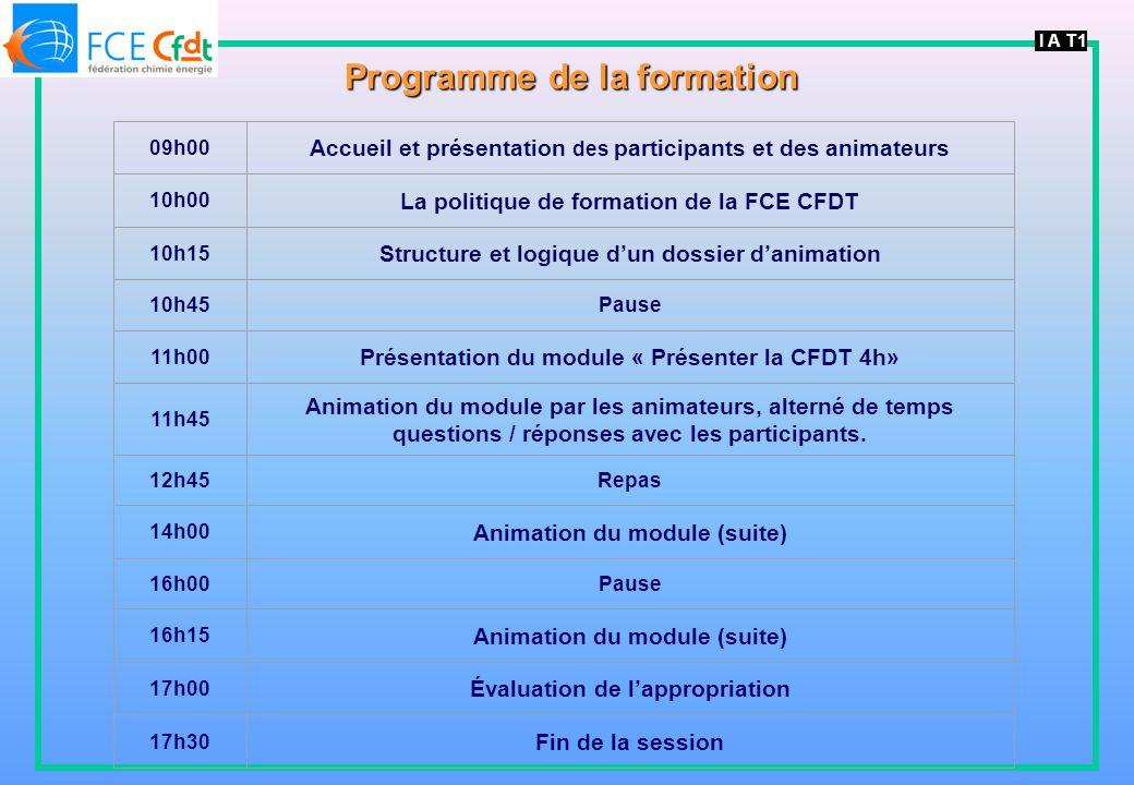 I A T1 Programme de la formation 09h00 Accueil et présentation des participants et des animateurs 10h00 La politique de formation de la FCE CFDT 10h15