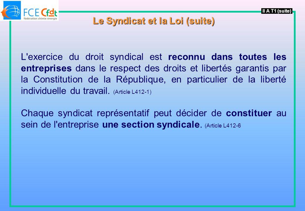 L exercice du droit syndical est reconnu dans toutes les entreprises dans le respect des droits et libertés garantis par la Constitution de la République, en particulier de la liberté individuelle du travail.