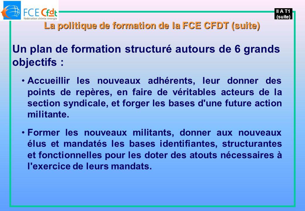 II A T1 (suite) La politique de formation de la FCE CFDT (suite) Un plan de formation structuré autours de 6 grands objectifs : Accueillir les nouveaux adhérents, leur donner des points de repères, en faire de véritables acteurs de la section syndicale, et forger les bases d une future action militante.