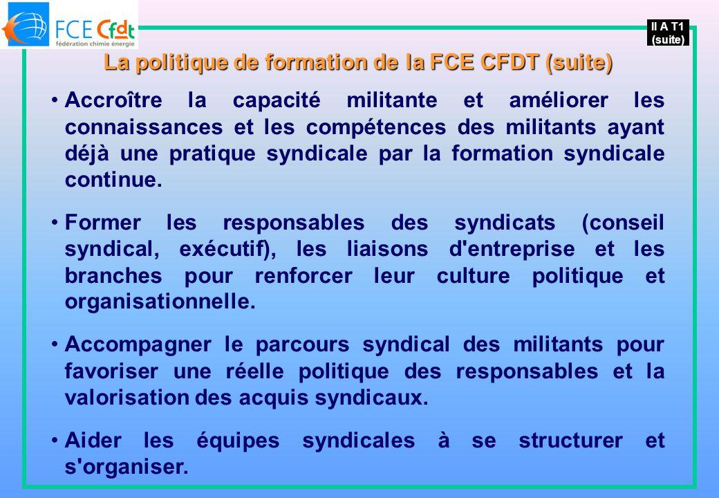II A T1 (suite) La politique de formation de la FCE CFDT (suite) Accroître la capacité militante et améliorer les connaissances et les compétences des militants ayant déjà une pratique syndicale par la formation syndicale continue.