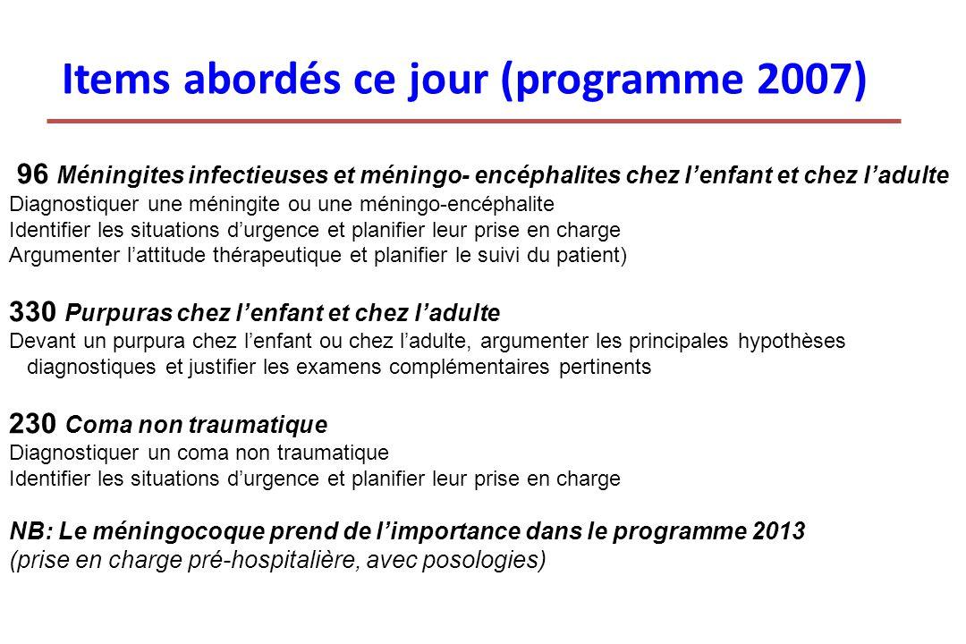 Items abordés ce jour (programme 2007) 96 Méningites infectieuses et méningo- encéphalites chez lenfant et chez ladulte Diagnostiquer une méningite ou
