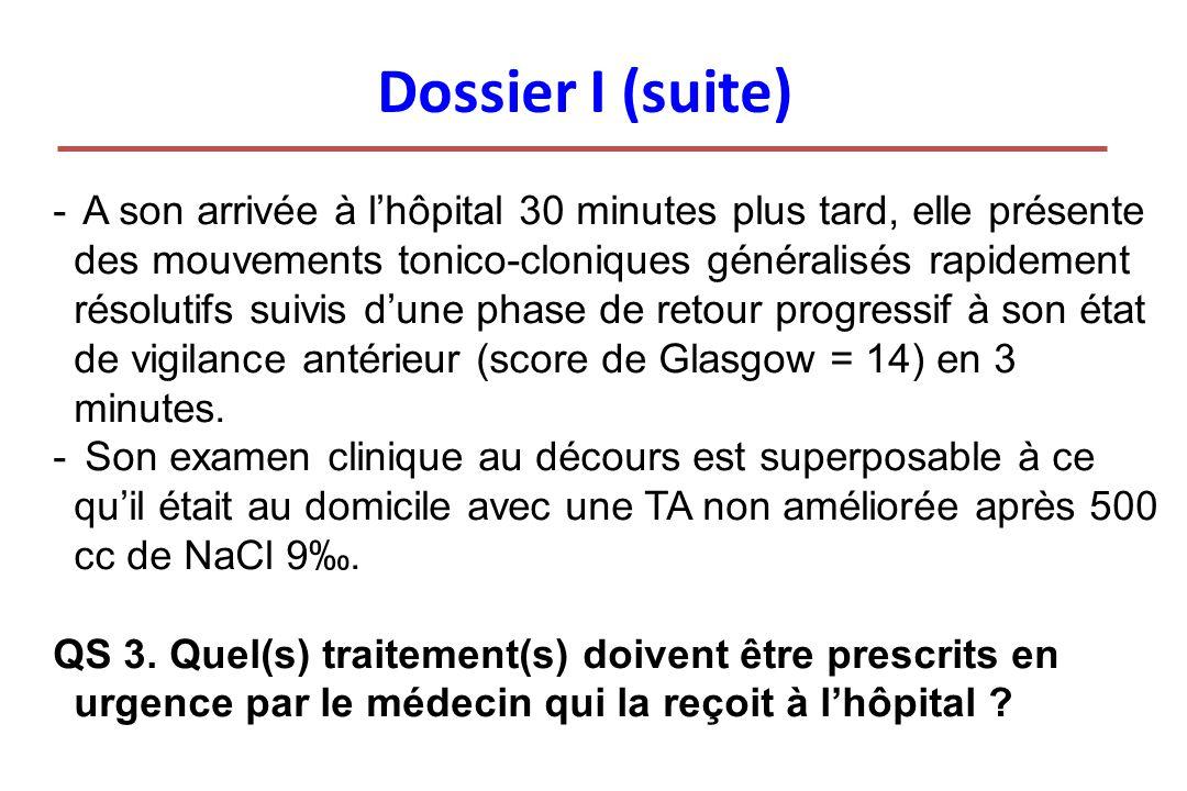 Dossier I (suite) - A son arrivée à lhôpital 30 minutes plus tard, elle présente des mouvements tonico-cloniques généralisés rapidement résolutifs sui