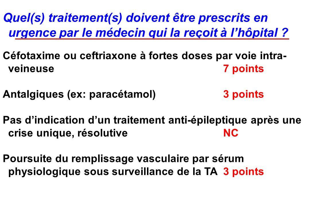 Quel(s) traitement(s) doivent être prescrits en urgence par le médecin qui la reçoit à lhôpital ? Céfotaxime ou ceftriaxone à fortes doses par voie in