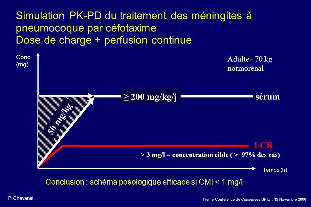 17ème Conférence de Consensus SPILF, 19 Novembre 2008 Simulation PK-PD du traitement des méningites à pneumocoque par céfotaxime Dose de charge + perf