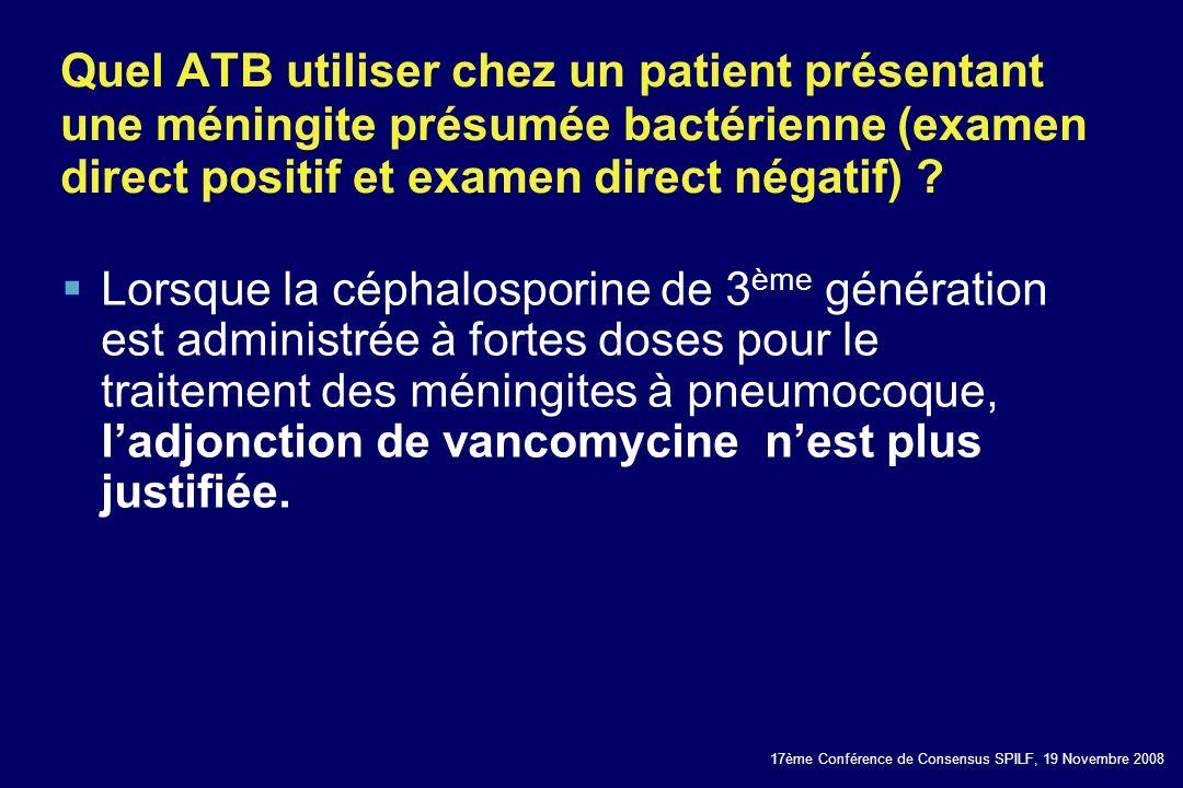 17ème Conférence de Consensus SPILF, 19 Novembre 2008 Quel ATB utiliser chez un patient présentant une méningite présumée bactérienne (examen direct p