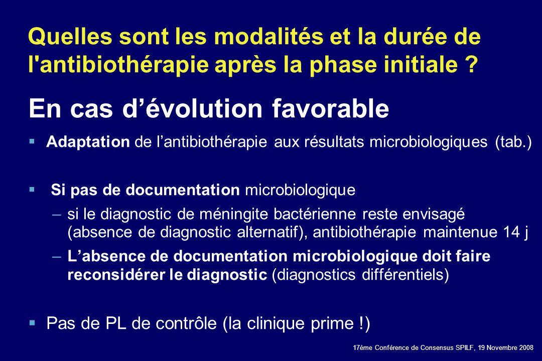 17ème Conférence de Consensus SPILF, 19 Novembre 2008 Quelles sont les modalités et la durée de l'antibiothérapie après la phase initiale ? En cas dév