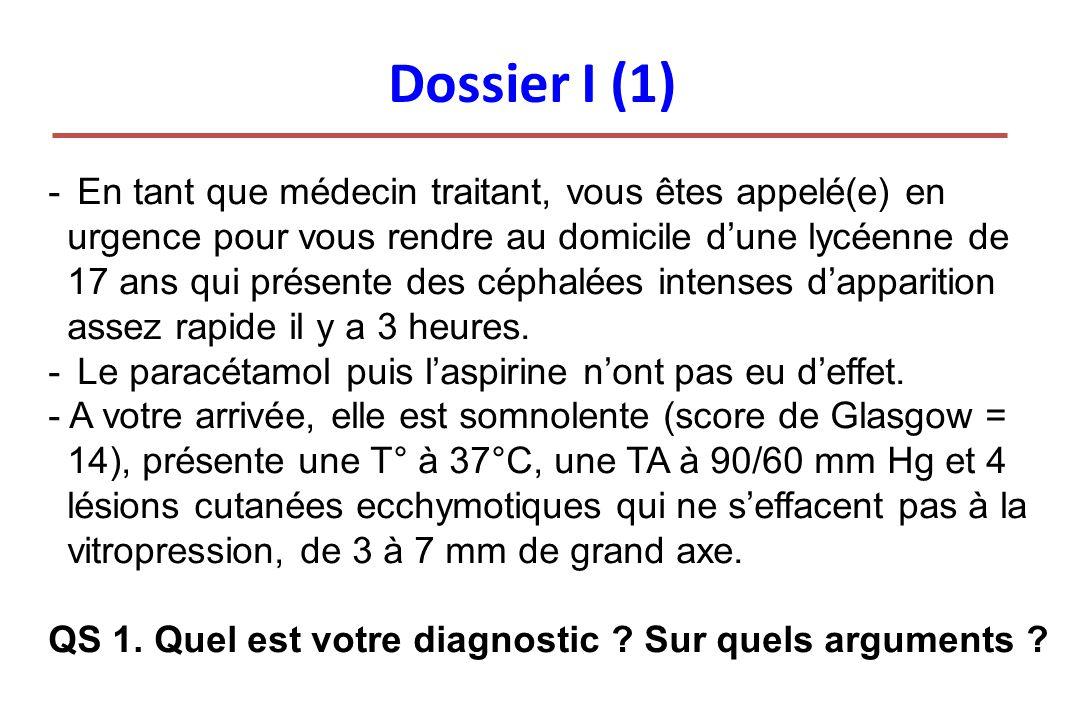 Dossier I (1) - En tant que médecin traitant, vous êtes appelé(e) en urgence pour vous rendre au domicile dune lycéenne de 17 ans qui présente des cép