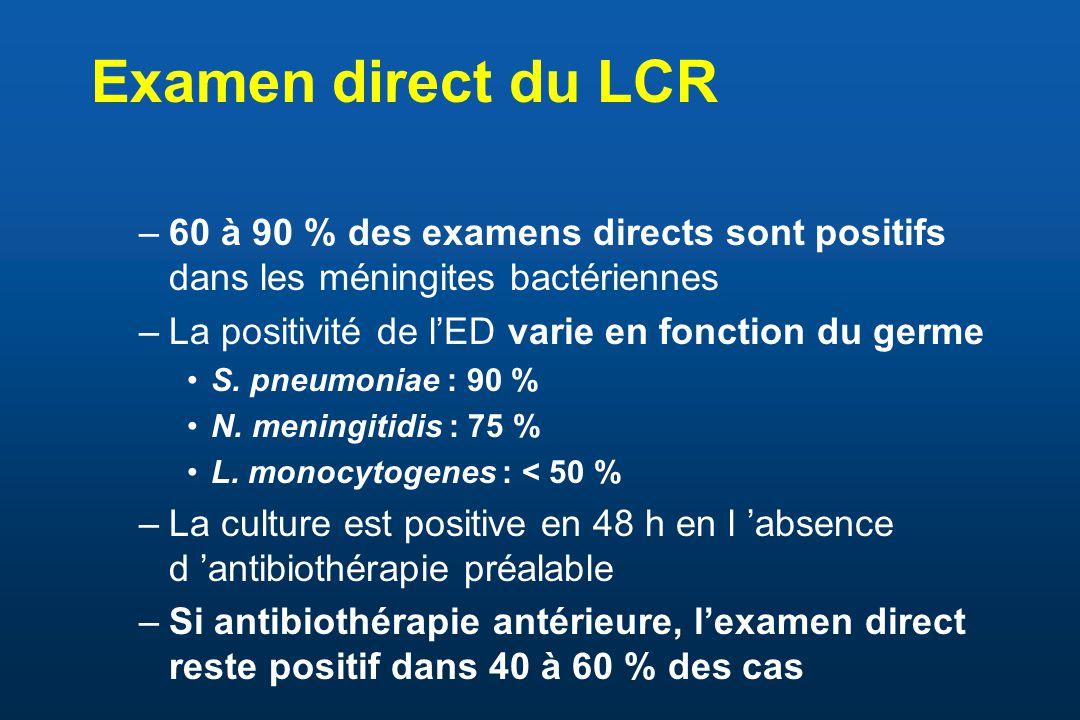 Examen direct du LCR –60 à 90 % des examens directs sont positifs dans les méningites bactériennes –La positivité de lED varie en fonction du germe S.