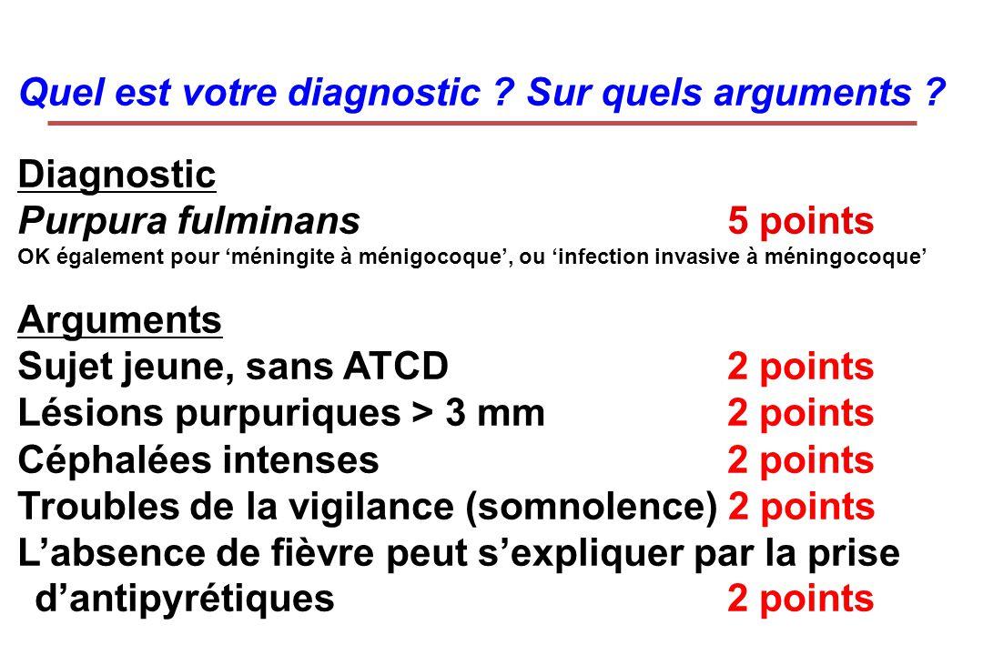 Quel est votre diagnostic ? Sur quels arguments ? Diagnostic Purpura fulminans 5 points OK également pour méningite à ménigocoque, ou infection invasi