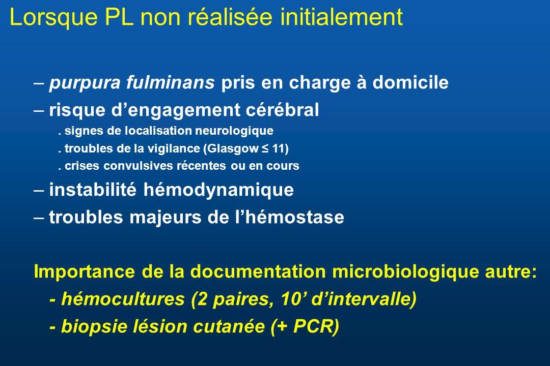 Lorsque PL non réalisée initialement –purpura fulminans pris en charge à domicile –risque dengagement cérébral. signes de localisation neurologique. t